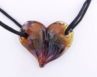Glass Heart Love Pendant, Valentine's Gift for Wife, Boro, Heart Necklace, Love Jewelry, Hand Blown Glass, Anniversary Gift, Lampwork