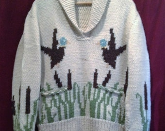 1950s VINTAGE COWICHAN SWEATER / Jacket Jumper / Knitwear