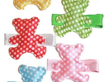 Boutique Teddy Bear Hair Clippie Gift Set. Set of 5 Teddy Bear Clips girls will love.