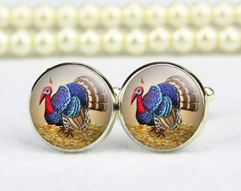 Turkey Cufflinks, Thanksgiving Festival Cufflinks, custom any text, photo, personalized cufflinks, custom wedding cufflinks, groom cufflinks