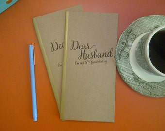 5th Anniversary // Dear Husband On Our 5th Anniversary Journal // Staple Bound Journal