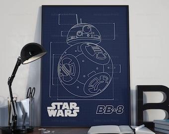 Star Wars Poster Print - BB-8 Blueprint   Digital Art   Kids Room Art   Digital Download   Disney   Droid   The Force Awakens   2 Set