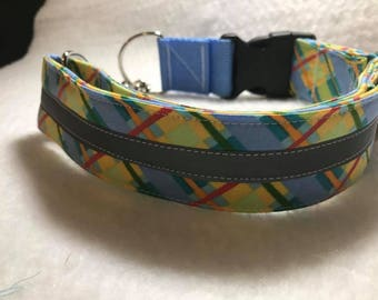 Patterned Dog Collar Martingale with Reflector Strip