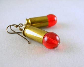 Recycled Brass Bullet Shell Casings with Cherry Red Glass Earrings with Free USA Shipping