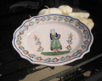 Antique Quimper Platter Breton Peasant Woman HR Quimper Large French Country Pottery