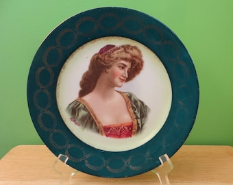 Antique Royal Vienna Porcelain Portrait Plate Signed G. Bonfits - Beehive Mark - Free Shipping