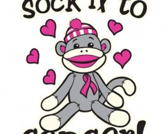 Sock it to Cancer Breast Cancer Awareness Shirt New Various Sizes and Colors Available