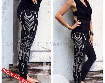 ARROW BAMBOO Leggings, printed black Leggings, Sacred Geometry Feather FOL Leggings, Wiccan Tights, Moonphases Tribal Leggings Tights Pagan
