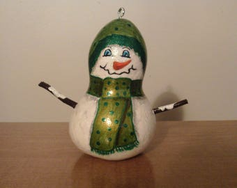 Painted Snowman Gourd, Gourd Ornaments, Painted Mini Gourds, Christmas Ornament