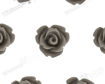 Gray Rose Cabochons, Flower Cabochons, Flower Cabs, 10mm Rose Cabochons, Flat Back Roses, 10mm x 6mm (R1-061)