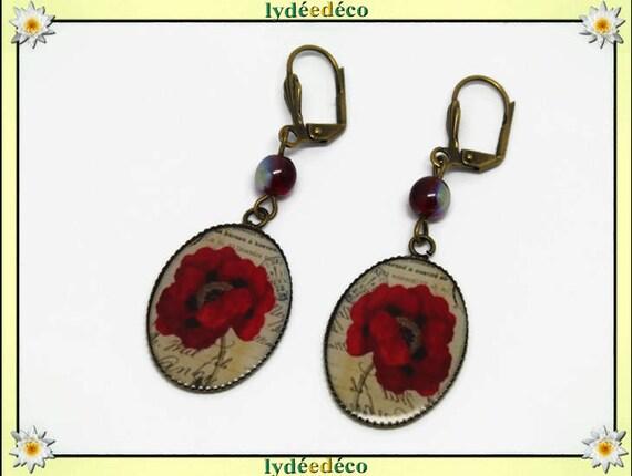 Earrings retro vintage flower red poppy black beige resin bronze beads glass 18 x 25mm pendants