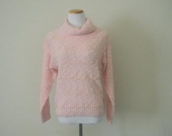 FREE usa SHIPPING Vintage ladies ribbon knit sweater grunge hipster pink sweater acrylic nylon turtleneck sweater size M