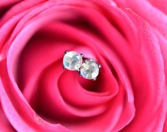 Rainbow Moonstone Stud Earrings, Moonstone Earrings, Faceted 3mm Moonstone Earrings, Sterling Silver Stud Earrings, 3mm Studs, Oxidized