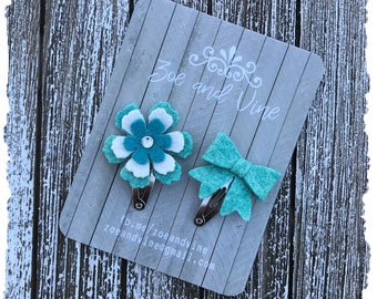 READY TO SHIP, Teal Wool Felt Flower Mini Bow Clip Set, Baby Clips, Infant Girls Adult Mini Snap Clips