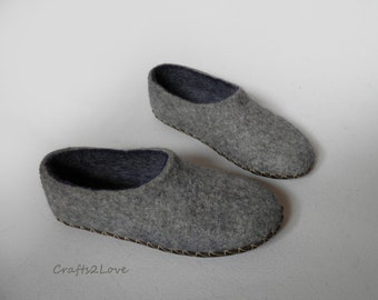 Unisex woolen felt slippers Felted slippers with leather soles Grey Dark blue Warm bedroom slippers Minimalist Natural Eco Fashion