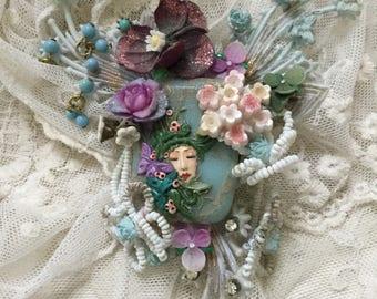 Ooak fairy vintage brooch