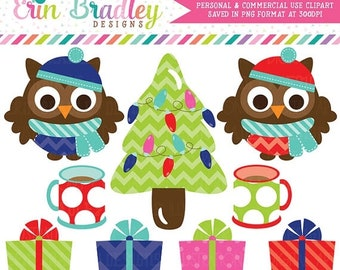 80% OFF SALE Christmas Owls Clipart with Christmas Tree Hot Chocolate and Presents Graphics