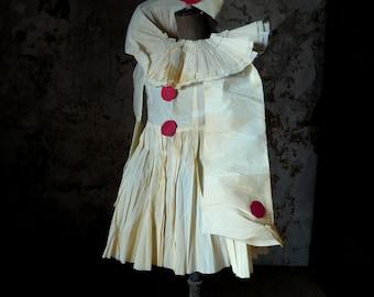 unique antique French crepe paper pierrot pierrette dress costume