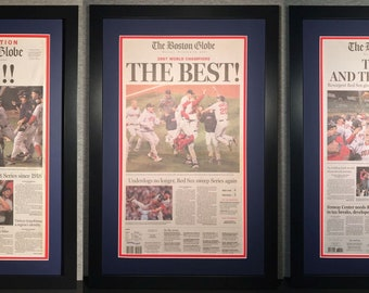 Boston Red Sox - 2004, 2007, 2013 World Series Champions - Boston Globe Newspapers (3) - Double Matted & Framed - (Official Team Colors)