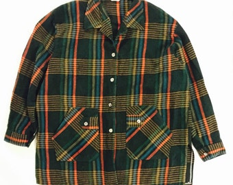 Womens Vintage Winter*Fall Flannel long sleeve button down shirt