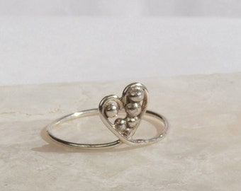 Silver heart ring, Size 9 sterling silver band ring Boho ring Sweetheart Ring Hand made Silver jewelry stacking jewelry