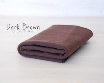 Dark Brown Doll Skin - 100% Cotton Round-knitted Jersey - 1/2 Meter Doll Jersey - Waldorf Doll Fabric - Brown Skin - DS104 - De Witte Engel