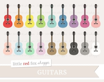 Guitar Clipart, Instrument Clip Art Acoustic Musical Band Folk Electric Vintage Retro Cute Digital Graphic Design Small Commercial Use