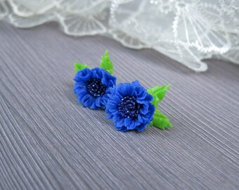 Summer jewelry Natural jewelry blue flower jewelry for flower girl gift blue cornflower earrings Flower stud earrings Tiny flower earrings