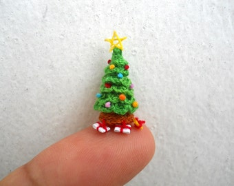 Christmas Tree in Dome - Micro Dollhouse Tree, Christmas Tree Pendant - Made to Order