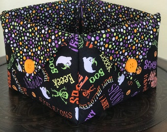 Halloween quilted fabric basket