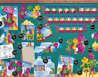 Barney the Dinosaur & Friends - Printable Birthday Party Pack - DIY - including Invitation, labels, streamer, signage, and much more