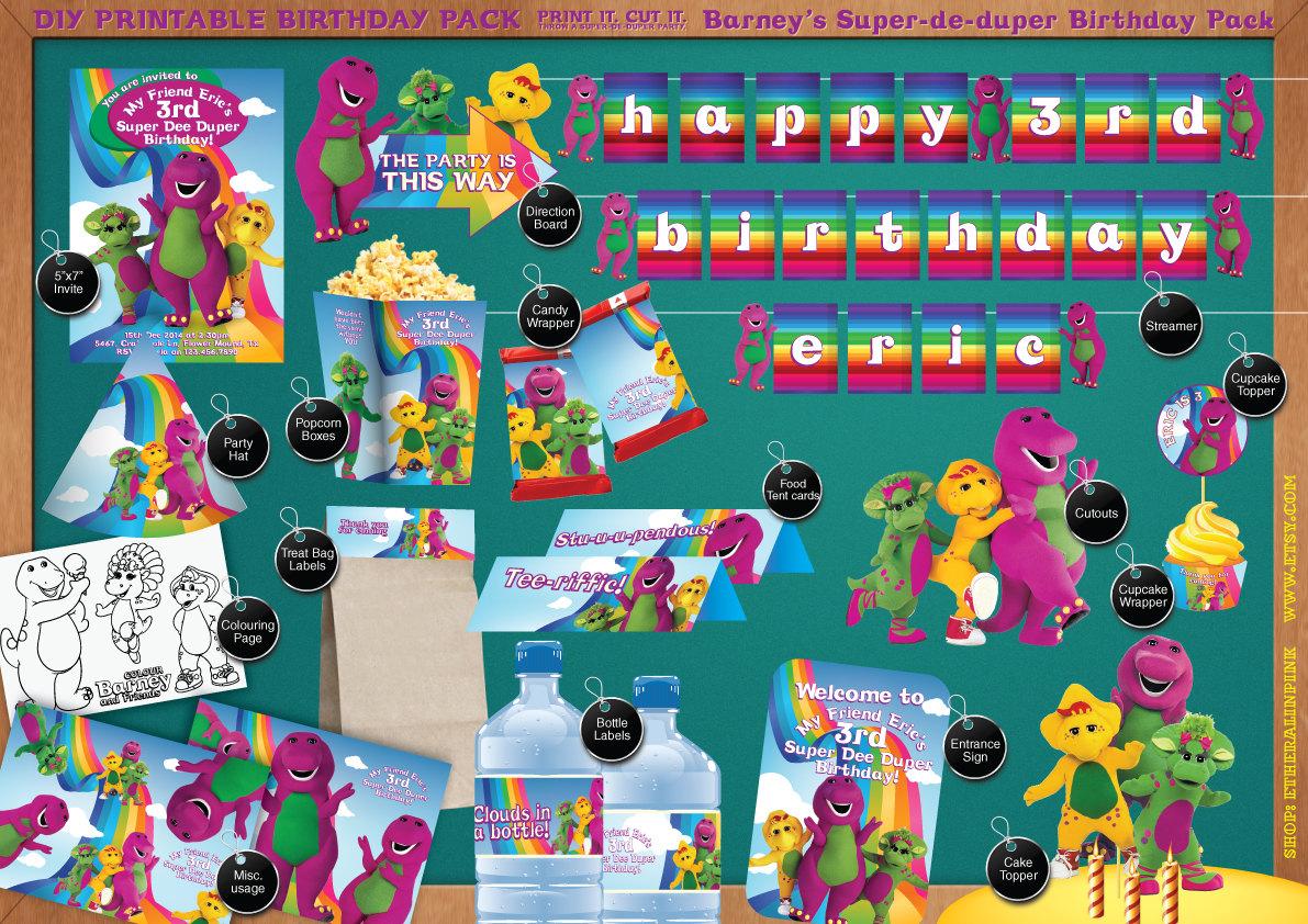 Barney the Dinosaur & Friends Printable Birthday Party Pack