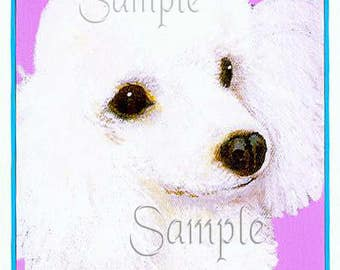 White Poodle Portrait Note Cards Set of 6