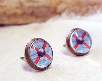 Rollo - Rollo Jewelry - Rollo Viking - Viking Shield - Vikings Show - Viking Jewelry - Viking Warrior - Viking Earrings - Stud Earrings
