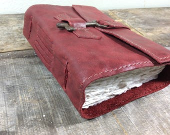 Red Leather Journal with Skeleton Key - MD