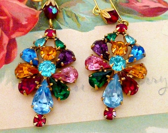 DAZZLING COLORFUL RHINESTONES vintage antique  assemblage earrings Hollywood glamour