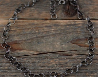 silver chain necklace, metalsmith chain necklace, handcrafted handmade chain