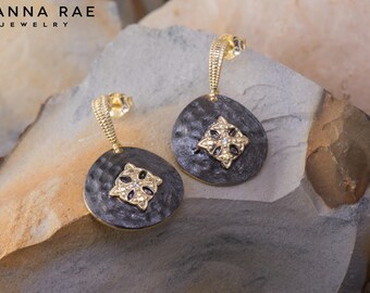 Round Black Dangle Earrings with Vermeil Cross