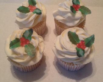 Holly Berry Edible Cupcake Accents