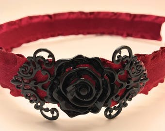 Black Rose Frill Headband