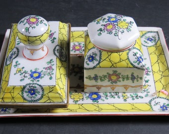 Aladin France Faience Inkwell Desk Set Tray Inkwell Blotter Lid & Liner Signed