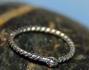 Silver Nose Ring - Nose Hoop in Sterling - Budded Twisted Design - CUSTOMIZE
