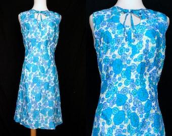 1960s Mod Shift Wiggle Dress Mini Blue Turquoise Keyhole Small Medium 60s Sleeveless