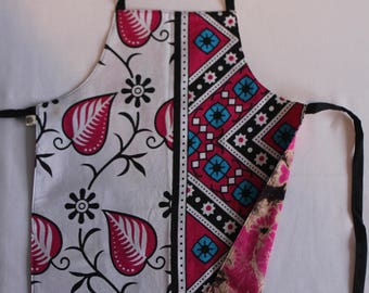 Reversible Child Apron, East-meets-West - Pink Flowers and Pink Tie-Dye, Small Kids Apron