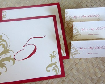 Damask Table Number and/or Place Cards in Red and Gold