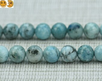 15 inch strand of Aquamarine Calamine smooth round beads  4mm 6mm 8mm 10mm for choose