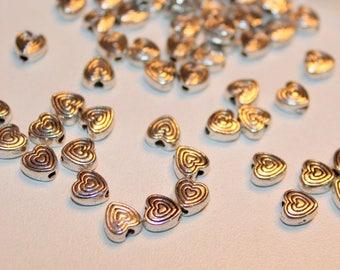 x 5 metal - heart love beads Love - in silver - romantic Scrapbooking Customisation