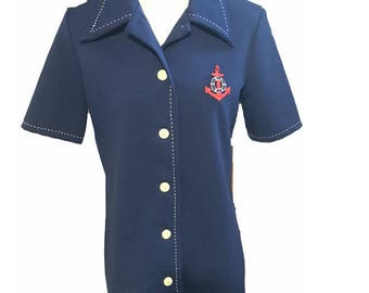 Vintage Navy Blue Jack Winter Short Sleeved Polyester Knit Top With Sailor Patch