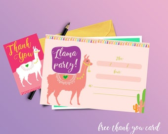 Llama invitations, printable and self write + free thank you card