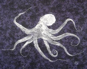 """ORIGINAL Octopus GYOTAKU Art Best Nature Rubbing on rich purple Cloth Beach Decor 20"""" X 17"""""""
